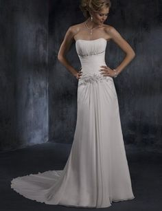 Embellished Fitted Chiffon Sheath [WG1359] - $202.00 : LuxeBlue Quality Discount Wedding Dresses & Formal Gowns, Worlds leading supplier of affordable fashion for Wedding dresses, Bridal gowns and discount formal wear. Safe & Fast delivery world wide.