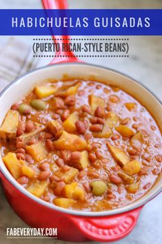 How to make Puerto Rican-style beans, or Habichuelas Guisadas (made of pink beans, or habichuelas rosadas). My version of my family's habichuelas recipe. Puerto Rican Beans, Puerto Rican Chicken, Puerto Rican Dishes, Puerto Rican Cuisine, Puerto Rican Recipes, Puerto Rican Beef Stew Recipe, Puerto Rican Pink Beans Recipe, Cuban Cuisine, Boricua Recipes