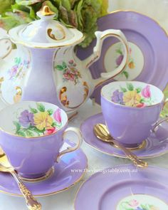 ltra Violet has been announced as the 2018 Color of The Year by Here is our softer version from our Luxury High Tea Hire Tea Cup Set, My Cup Of Tea, Tea Cup Saucer, Vintage Dishes, Vintage China, Vintage Table, Tea Sets Vintage, Vintage Tea Parties, Vintage Teacups