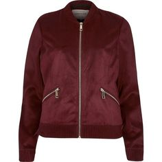 River Island Burgundy faux suede bomber jacket ($37) ❤ liked on Polyvore featuring outerwear, jackets, bomber jackets, jackets and vest, tops, sale, red zipper jacket, red bomber jacket, bomber jacket and long sleeve jacket