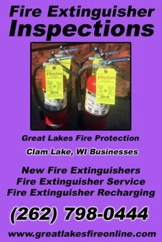 Fire Extinguisher Inspections Clam Lake, WI (262) 798-0444 Discover the Complete Source for Fire Protection Equipment and Service.. We're Great Lakes Fire Protection!! Call us Today!