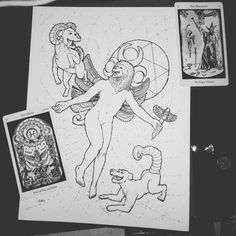 """Moon Magus  ORIGINAL Illustration based on """"The Magus"""" and """"The Moon"""" cards from Godfrey Dowson's Hermetic Tarot. Thoth Baboon Magician with moon dogs, holding a Caduceus, in an Energy Field. Black and White Occult Art"""