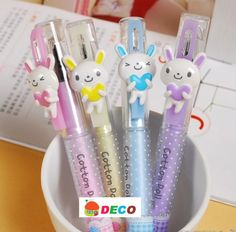 cute bunny pens! they write in blue ink and come in four different colors: pink, purple, blue, and yellow