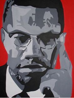Painting of Malcolm X by Tanya Garland