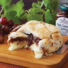 Apple Cranberry Baked Brie - Apple Cranberry Baked Brie2 boxes per order  Serves: 1 brie per box 4 to 6 guests  Item: 553702, 14 oz  35oo