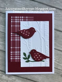 Stampin' Up! Bird Builder Punch Christmas Card Good morning my stamping visitors. Hope your weekend is off to a good start. Today my card is one we made at our Christmas party Thursday. Sue L. brought the kit and it was quick an Homemade Christmas Cards, Stampin Up Christmas, Christmas Greeting Cards, Homemade Cards, Holiday Cards, Christmas Punch, Stampinup Christmas Cards, Christmas Deco, Greeting Cards Handmade