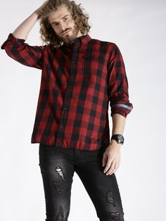 s.Oliver Red & Black Cotton Checked Casual Shirt