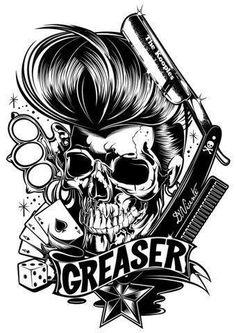 Rockabilly, black and white, skull. Love me some rockabilly. Rockabilly Tattoos, Rockabilly Pin Up, Rockabilly Fashion, Rockabilly Dresses, Volbeat Tattoo, Tatoo Crane, Barber Tattoo, Neue Tattoos, Skulls