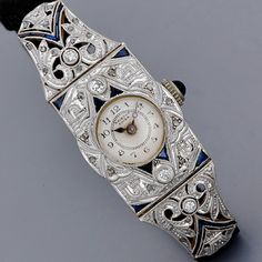 Antique Jewelry Art Deco Diamond Watch, 1920's.