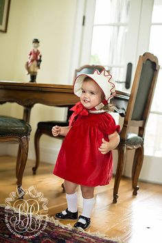 Holly Day Dress - Richmond Red Velveteen with Pearl Velveteen Collar