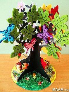 дерево из фетра - времена года - лето