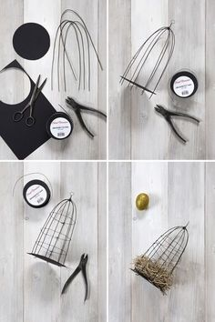 Personalized Easter decorations - Bird cages in trinkets - Craft details Crafts To Make, Fun Crafts, Arts And Crafts, Wire Crafts, Metal Crafts, Bird Cages, Wire Art, Easter Crafts, Craft Projects