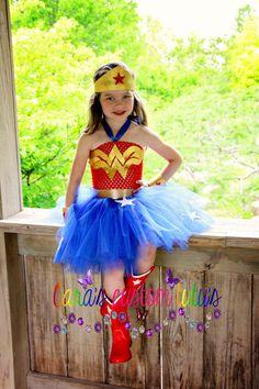 Wonder Woman Inspired Tutu Dress- Halloween Costume, Dress up and play Wonder Woman Birthday, Wonder Woman Party, Tutu Costumes, Costume Dress, Halloween Dress, Halloween Costumes, Dc Super Hero Girls, Superhero Birthday Party, Fairy Dress