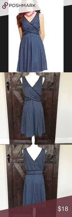 💕Nine West💕 Dress 💕Gently love by yours truly 💕 used once for my BFF 50's bridal shower. • rushing  on waist• v-neck on front/back• lining•navy blue with white polka dots • side zipper• no trades😊 Nine West Dresses Midi