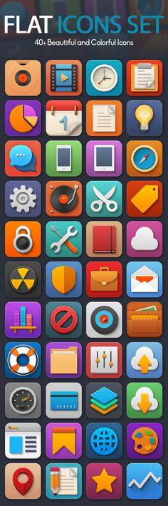 Beautiful colorful Flat icons set