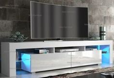 White Cabinets & Cupboards for sale | eBay Tv Stand High Gloss, Bathroom Sink Vanity Units, Mirror Tv Stand, Cupboards For Sale, White Tv Stands, Tv Display, Media Unit, Wall Mounted Tv, Light Oak