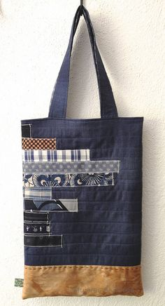 Denim patchwork tote bag with suede bottom