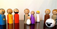 """It's never to early to start planning for Christmas. This is a hand painted nativity peg doll set. Painted with non toxic paint and sealed to allow for durability with a glossy finish. This is a perfect set to allow your little one's to play without the worry about breaking. Let them enjoy the holiday season hands on this year.Measures 2 1/4"""" high.Comes with 10 pegs. Mary, Joseph,  Baby Jesus, 3 Wise Men, 2 Shepherds, 1 Sheep, and 1 Angel."""
