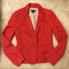Bebe Coral Blazer - Size 8 Bright yet classy blazer from Bebe. So cute for summer with white pants! bebe Jackets & Coats Blazers