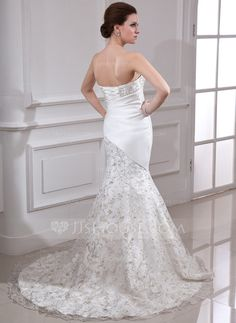 Trumpet/Mermaid Strapless Court Train Embroidered Beading Sequins Lace Up Strapless Sleeveless Church General Plus No Winter Spring Summer Fall Ivory Satin Organza Wedding Dress