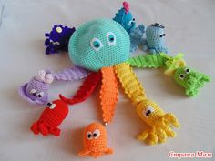 """Octopussy"" - based on the cartoon Crochet Baby Toys, Crochet Gifts, Knit Crochet, Amigurumi Patterns, Crochet Patterns, Crochet Octopus, Montessori Toys, Crochet Projects, Knitting"