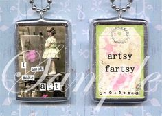 I MuST MAKE ART charm NECKLACe altered art by TickleMePinkBoutique, $19.00
