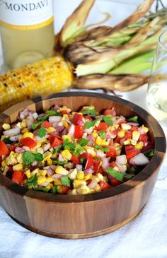 Fire Roasted Corn  Poblano Salsa | A sweet  spicy salsa made with corn, poblanos  red peppers! #CKMondaviHeroes #CleverGirls @ckmondaviwines