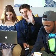 Cody Christian being an absolute dork during Teen Wolf's live Q&A on Facebook (at 4:38).  gif