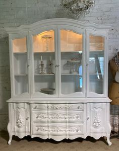 Painted Cottage Prairie Chic One of a Kind Vintage China Display Cabinet CC2008 Painted Cottage, Shabby Cottage, Shabby Chic Shelves, China Cabinet Display, Pink Chalk, Glass Knobs, Paris Apartments, Vintage China, Wood Construction