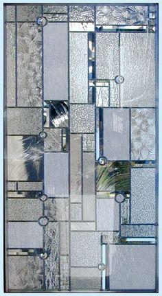 FLWAMBERP Leaded Glass Abstract Window Frank Lloyd Wright Inspired Custom Glass Design.