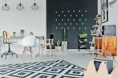 Are you interested in Scandinavian design? Then you might want to take a look at its brand new cousin: Scandi-Industrial. Industrial Interior Design, Industrial House, Striped Walls, White Walls, Wall Design, House Design, Chalkboard Decor, Pattern And Decoration, Scandinavian Design
