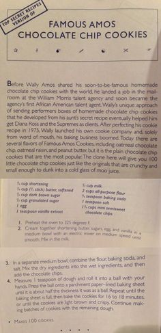 Famous Amos chocolate chip cookies from Top Secret Recipes Retro Recipes, Old Recipes, Vintage Recipes, Recipies, Chip Cookie Recipe, Cookie Recipes, Baking Recipes, Famous Amos Cookie Recipe, Famous Amos Chocolate Chip Cookies Recipe