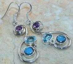   Labradorite & Amethyst Sterling Silver Earrings : Wholesale 925 Earrings  