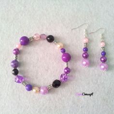 Bracelet et boucles d'oreilles perles - mauve, noir, rose - création créaconcept  http://www.alittlemarket.com/boutique/creaconcept-899765.html
