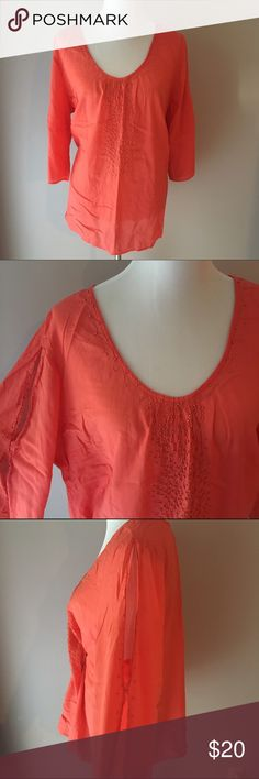 Lane Bryant Cold Shoulder Top Such a fun flirty top with a bold orange color and gold beads around neckline and splits on the sleeves. In Great condition! Size 18/20 Lane Bryant Tops Blouses