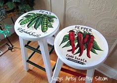 Thrift store stools hand painted with vintage seed packet art.  Beautiful results!