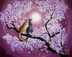 Cross Paintings, Original Paintings, Chats Tabby Oranges, Cherry Blossom Painting, Cherry Blossoms, Orange Tabby Cats, Red Tree, Cherry Tree, Sakura