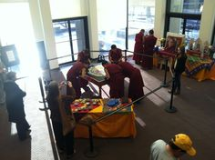 Tibetan Monks visit Dominican University, creating a beautiful sand mandala while here. Taken in the Crown Rebeca Library.