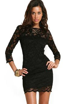 Sheer Lace Bodycon Black Dress 10.33