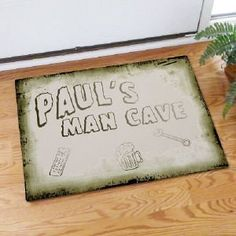 """Man Cave Personalized Doormat . $24.98. Man Cave Personalized Doormat- Personalized Man Cave MatDecorate the entrance into your Man Cave with this distinctive and sturdy Personalized Man Cave Doormat. A great addition to any garage basement or man cave entrance. Please choose between two great sizes 18"""" x 24"""" or 24"""" x 36"""". Both are safe for outdoor or indoor door mat use. Your Personalized Man Cave Doormat is 1/8"""" fleece smooth with latex action backing and white b..."""