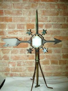 1900*RARE*D&S CAST METAL FOUR STAR LIGHTNING ROD WEATHERVANE & MILK GLASS BALL