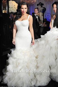 kim kardashian Ivory Mermaid Wedding Gown Bridal Dress #Wedding Dresses #Wedding Dress