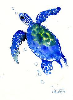 Indigo Blue Sea Turtle original watercolor painting 12X 9in children room art, kids wall art nautical
