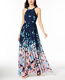 71ddff9d87 Betsy   Adam Printed Halter Gown Pink High Low Dress