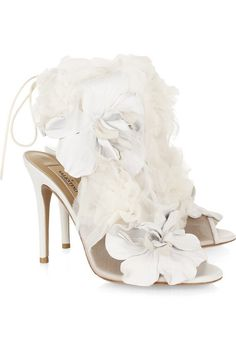 The white one - Valentino Leather And Tulle-Embellished Mesh Sandals - PERFECT