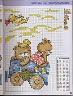 schema punto croce trenino orsetti | Hobby lavori femminili - ricamo - uncinetto…