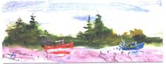 Lobster Boats  miniature nautical painting by by jimsmeltzgallery, $25.00