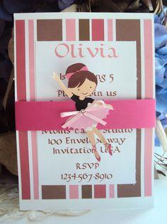 Ballerina Birthday invitation , Tutu Invitatons , Childrens Birthday invitations by TooCuteInvites on Etsy https://www.etsy.com/listing/107685417/ballerina-birthday-invitation-tutu