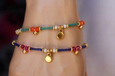 Blue and Green Afghan Bead Friendship Ethnic Bracelet