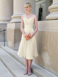 Chiffon Spaghetti Straps Crisscross Gathered Bodice A-line Bridesmaids Dress